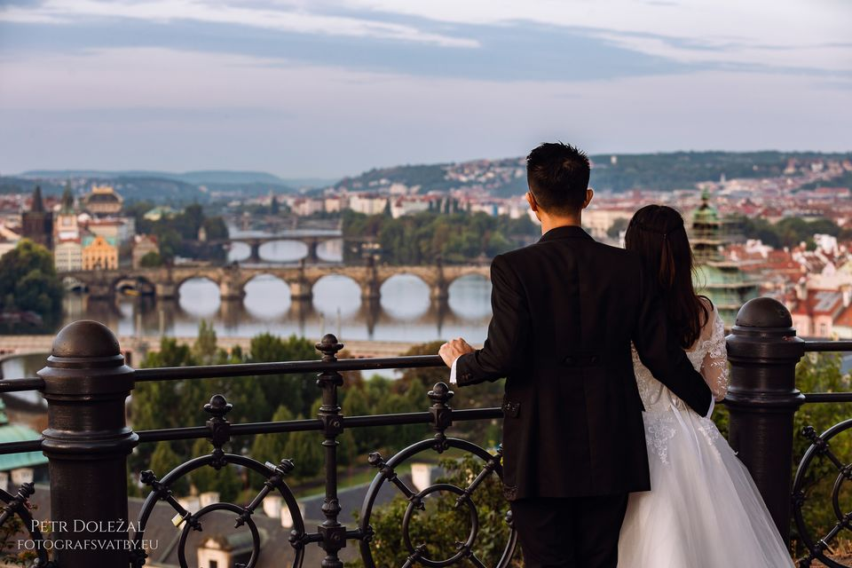 View from Letna Park on a lot of Prague Bridges from Pre Wedding Photo Session