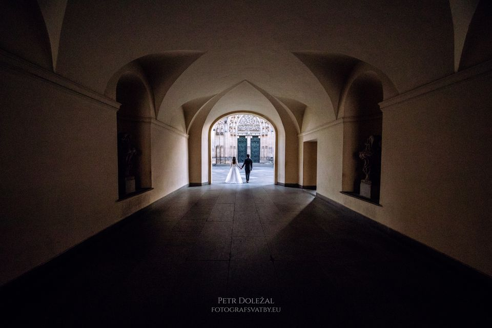 Prague Pre Wedding Photo of Arcade leading to St. Vitus Cathedral