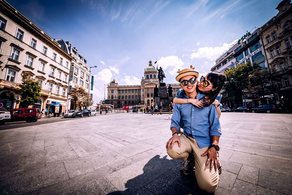 Wenceslav Square in Prague Pre Wedding Photo