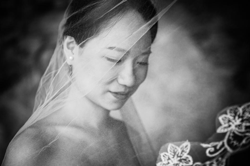 Černobílý svatební portrét nevěsty
