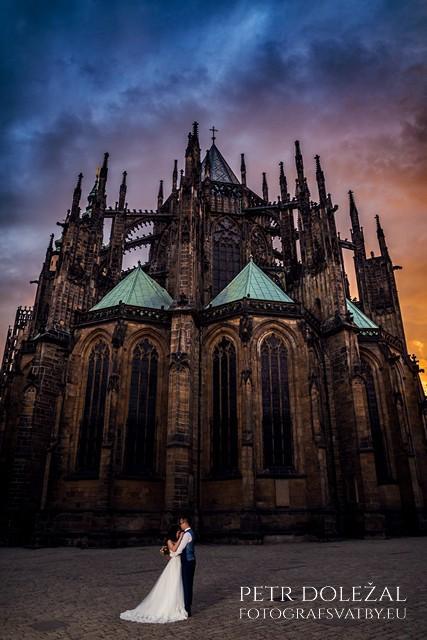 Sunset behind St. Vitus Cathedral on Pre Wedding Prague Photo
