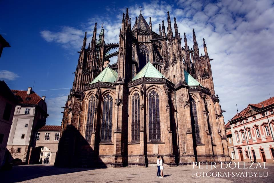 Prague Pre Wedding Photo with East side of St. Vitus Cathedral