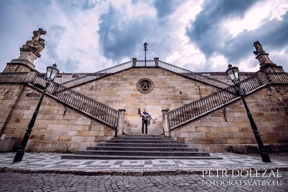 Pre Wedding Picture with Stairs leading from Charles bridge to Kampa park Island.
