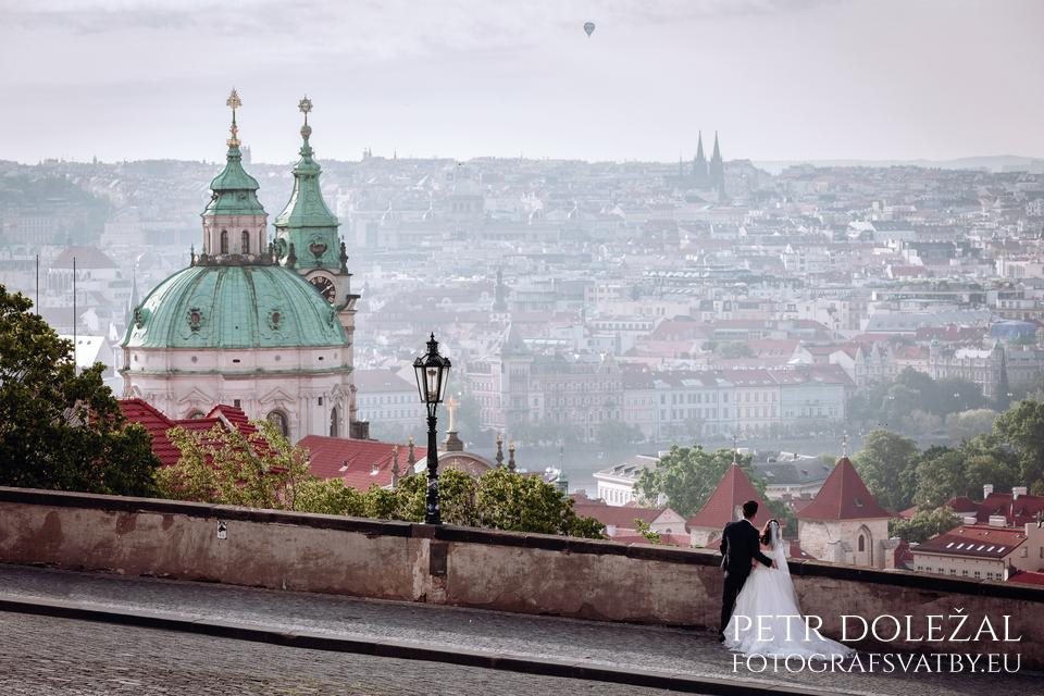 PreWedding Photograph with Panorama of Prague Roofs from viewpoint in front of Prague Castle