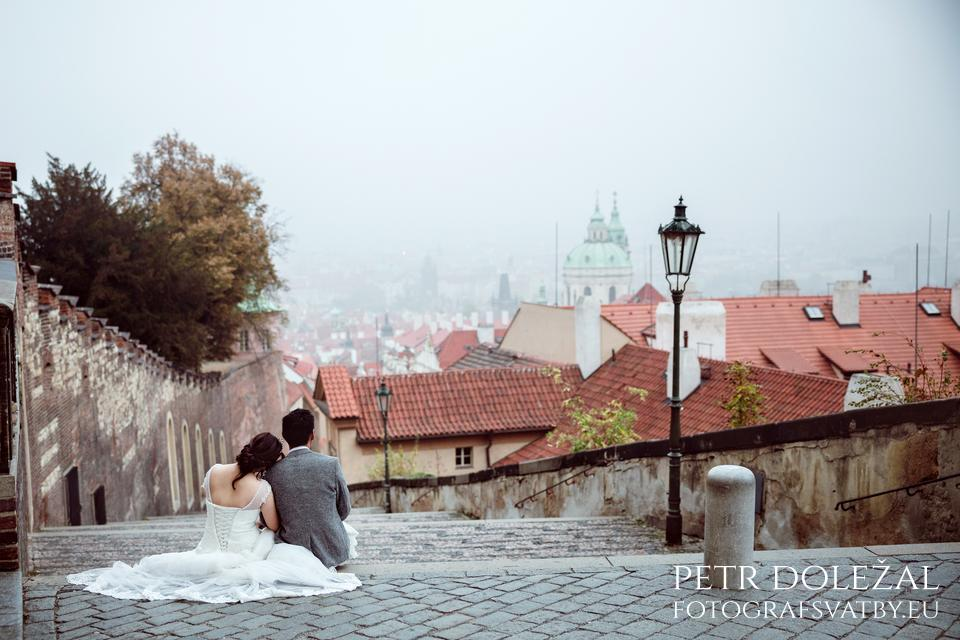 Pre Wedding Photo with New Castle Staircase above Prague
