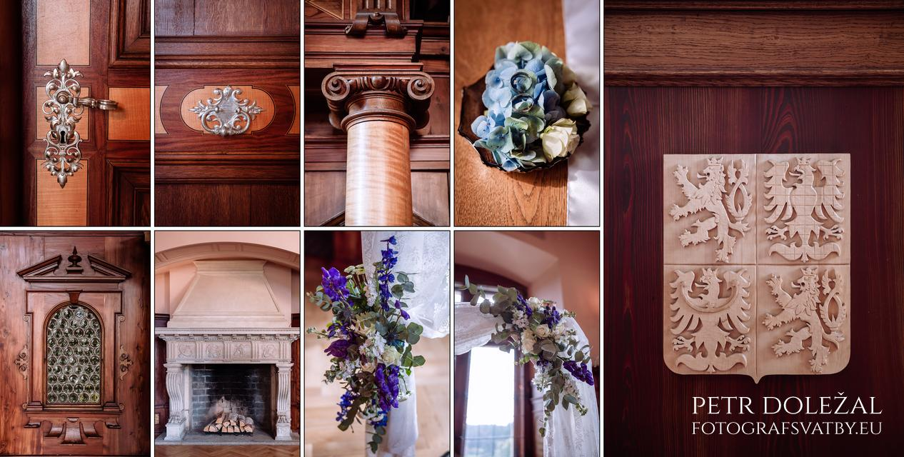 fotografování detailů místa svatebního obřadu před zahájením