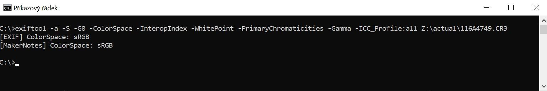ExifTool metadata v upravené fotce RAW