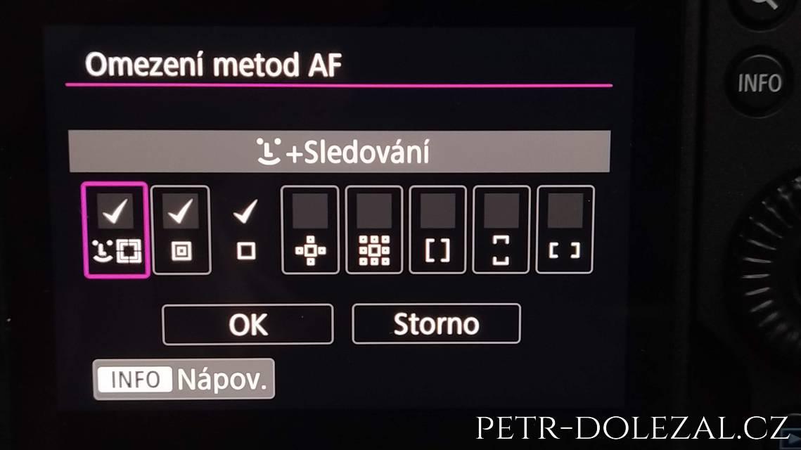 Omezení metod AF Canon R6